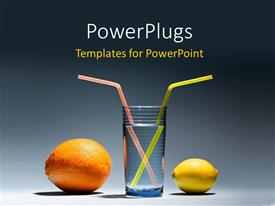 PowerPoint template displaying a lemon and an orange with a glass of water