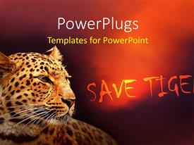 PowerPlugs: PowerPoint template with a tiger with a reddish background