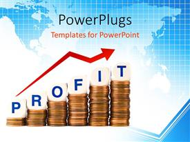 PowerPlugs: PowerPoint template with letter Dice Spelling Profit and Loss atop Penny Stacks with world map