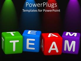 PowerPoint template displaying lettered dice spell team in green, blue, red, and purple