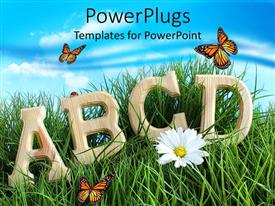PowerPlugs: PowerPoint template with letters in grass surrounded by butterflies