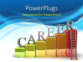 PowerPlugs: PowerPoint template with letters spelling Career on colored blocks on abstract blue and white wave backgorund