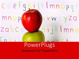 PowerPoint template displaying letters on white board with red apple on green apple