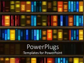 PowerPoint template displaying library book case with so many books