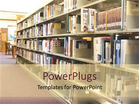 PowerPlugs: PowerPoint template with library book shelves rows of books public library education community