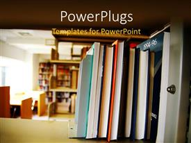 PowerPoint template displaying library with books and journal arranged on wooden shelve