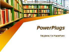 PowerPlugs: PowerPoint template with library shelves filled with books representing a library room