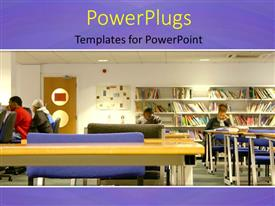 PowerPlugs: PowerPoint template with a library with some students studying in different positions