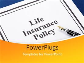 PowerPlugs: PowerPoint template with the life insurance policy file with a pen