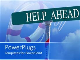 PowerPlugs: PowerPoint template with life saver tube in background with sign post reading help ahead