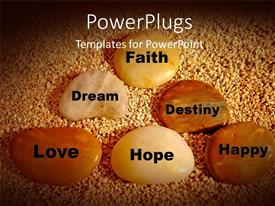 PowerPlugs: PowerPoint template with life words on smooth stones on little brown grains
