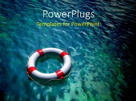 PowerPlugs: PowerPoint template with a lifesaver in the sea with place for text in background
