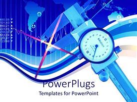PowerPlugs: PowerPoint template with light blinking inside vernier caliper on world map