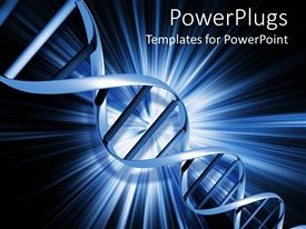 PowerPoint template displaying light blue DNA strand on abstract blue background with glowing rays