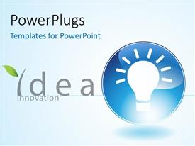 PowerPlugs: PowerPoint template with light bulb in blue circle depiction bright idea and innovation