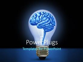 PowerPlugs: PowerPoint template with light bulb with brain depicting idea, innovation and intelligence background