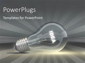 PowerPlugs: PowerPoint template with light bulb depicting innovation and idea with rays in the background
