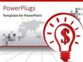 PowerPoint template displaying light bulb with dollar sign filament depicting fruitful idea