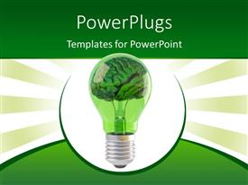 PowerPoint template displaying light bulb with human brain as filament on green and white background