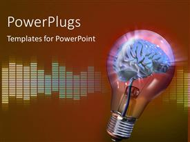 PowerPoint template displaying light bulb with human brain as filament and equalizer bars in background