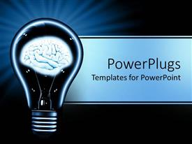PowerPoint template displaying a light bulb with a human brain inside it
