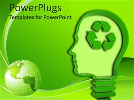 PowerPoint with light bulb / human head with recycling symbol on green background