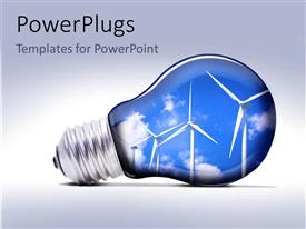 PowerPlugs: PowerPoint template with a light bulb with lots of wind turbines in it