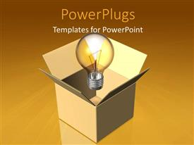 PowerPlugs: PowerPoint template with light bulb out of box depicting thinking out of the box
