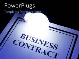 PowerPlugs: PowerPoint template with light bulb shinning over business contract on black background