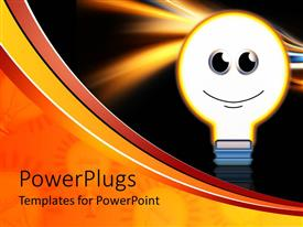 PowerPlugs: PowerPoint template with light bulb with smiley face glowing