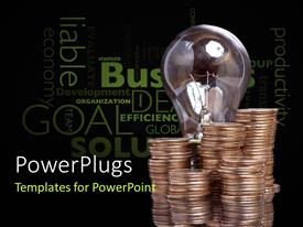 PowerPlugs: PowerPoint template with light bulb with stack of bronze coins and economic terms on black surface