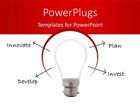PowerPlugs: PowerPoint template with light bulb with terms innovate, plan, develop, invest emerging