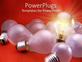 PowerPlugs: PowerPoint template with light bulb with threading over red background