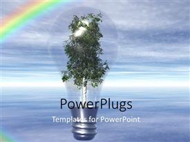 PowerPoint template displaying light bulb with tree as filament over blue cloudy sky