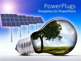 PowerPlugs: PowerPoint template with light bulb with tree and grass inside and solar panels against blue and white background