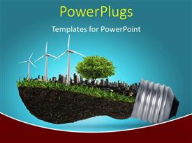 PowerPlugs: PowerPoint template with light bulb with trees, windmill, buildings depicting innovation