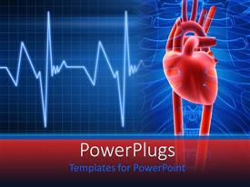 PowerPoint template displaying light and dark blue medical background red heart