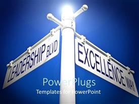 PowerPlugs: PowerPoint template with light glow in blue background over white road sign