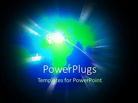 PowerPlugs: PowerPoint template with light glow on earth globe with location and thumbs up icon