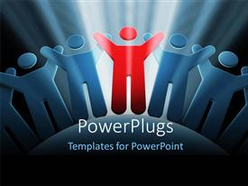 Powerpoint template unemployment depiction with team of people a slide deck featuring light glow on group of 3d men with red distinct leader toneelgroepblik Image collections