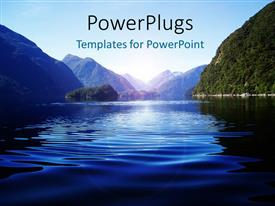 PowerPlugs: PowerPoint template with light glow over water surface with water ripples and mountains