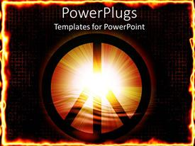 PowerPoint template displaying light glowing out of peace symbol centered in fiery background