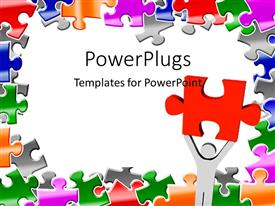 Presentation theme enhanced with light gray figure holding large red puzzle piece on white background