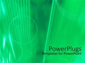 PowerPoint template displaying a light green background with different green designs on it