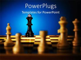 PowerPlugs: PowerPoint template with light over chess board with lone black king against white pieces