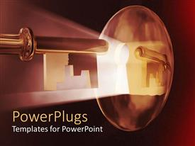 PowerPlugs: PowerPoint template with light shining through keyhole, key, lock