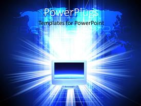 PowerPoint template displaying light sparkle over world map in background with computer monitor