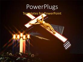 PowerPlugs: PowerPoint template with lighted candles in flower with gold plated Jesus nailed to cross on holy book
