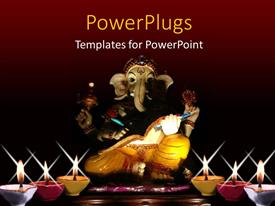 PowerPoint template displaying lighted candles with statue of ganesha on red background