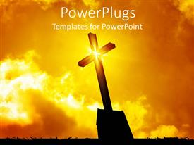 PowerPlugs: PowerPoint template with lighted cross silhouette with bursting star on cross on sunny lighted sky in the background